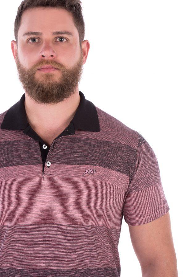 Camisa Polo Casual Fit Argali Altai Listrada Rosa