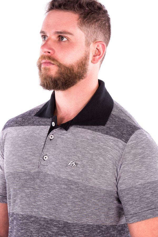 Camisa Polo Casual Fit Argali Altai Listrada Cinza