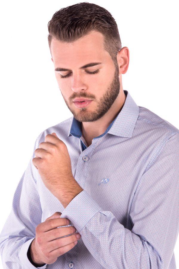Camisa Slim Fit Falklands ML - Poá Azul e Vermelho