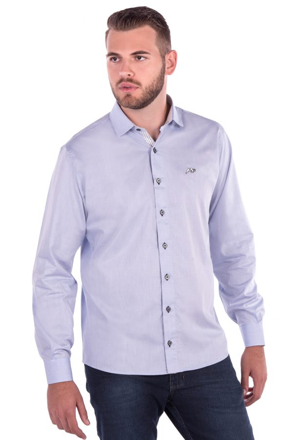 Camisa Slim Fit Falklands ML - Azul Claro