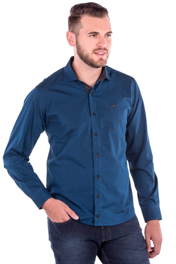 Camisa Slim Fit Falklands ML - Navalhado Azul