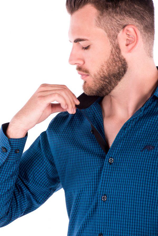 Camisa Slim Fit Argali Falklands ML - Xadrez Azul Maquinetada