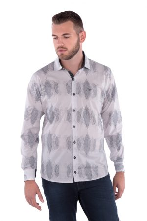 Camisa Slim Fit Argali Falklands ML - Branca Estampado Favo