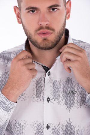 Camisa Slim Fit Argali Falklands ML - Branca Estampado Favo