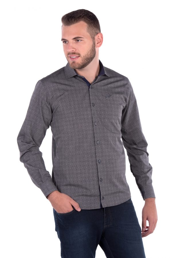 Camisa Slim Fit Argali Falklands ML - Cinza Maquinetado