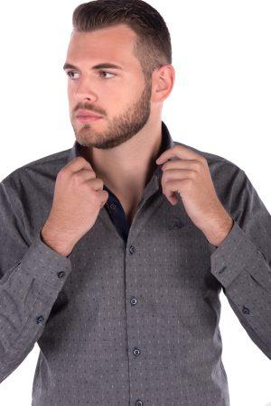 Camisa Slim Fit Argali Falklands ML - Cinza Maquinetado