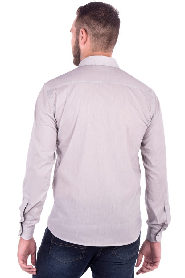 Camisa Slim Fit Falklands ML - Listrada Vertical Cinza