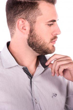 Camisa Slim Fit Falklands ML - Listrada Vertical Cinza