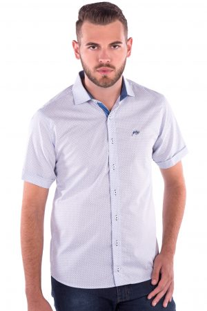 Camisa Slim Fit Falklands MC - Poá Azul