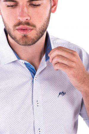 Camisa Slim Fit Falklands MC - Poá Azul