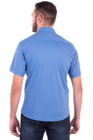 Camisa Slim Fit Falklands MC - Listrada Vertical Azul e Rosa