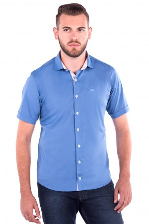 Camisa Slim Fit Falklands MC - Listrada Vertical Azul e Rosa
