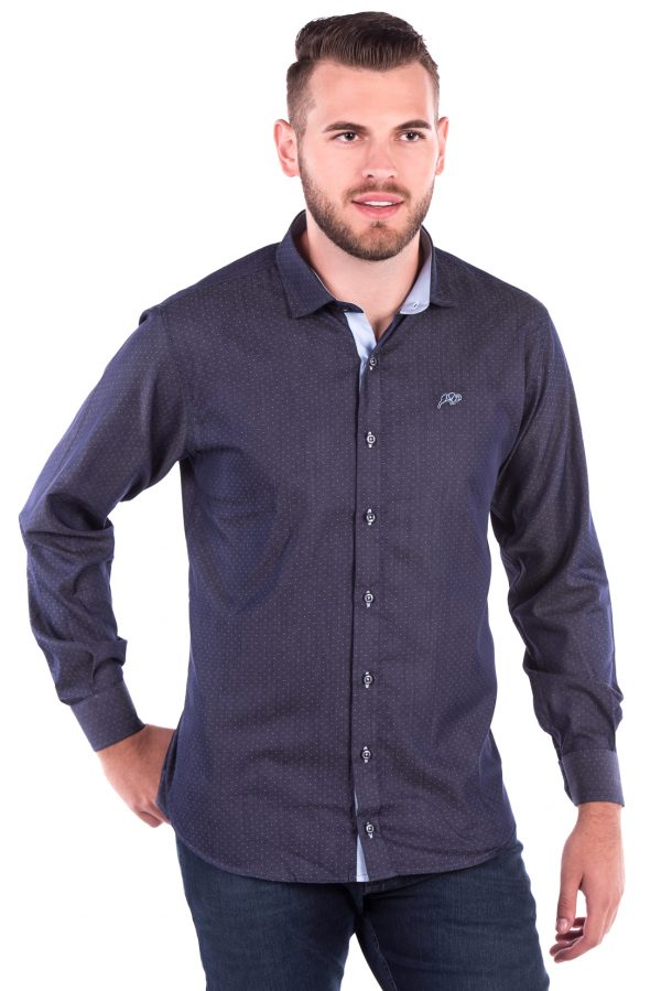 Camisa Slim Fit Falklands ML - Azul Poá