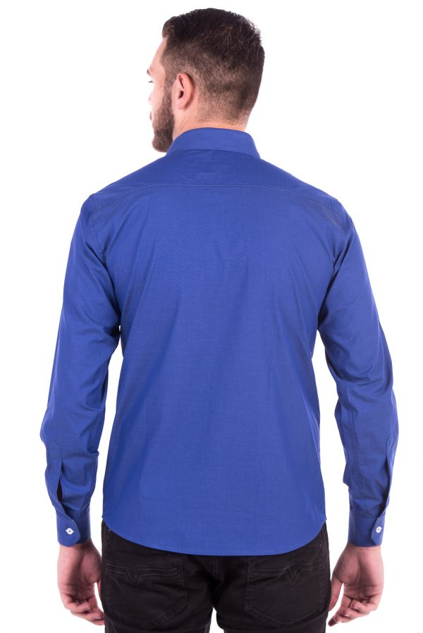 Camisa Slim Fit Falklands ML - Navalhada Azul Intenso