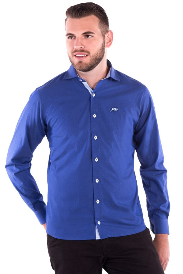 Camisa Slim Fit Falklands ML - Navalhada Azul Intenso