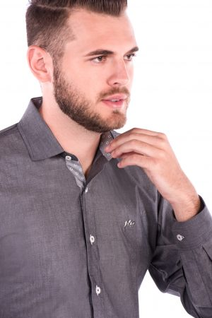Camisa Slim Fit Falklands ML - Cinza Médio Destonado