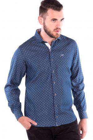 Camisa Slim Fit Falklands ML - Efeito Jeans Gravata
