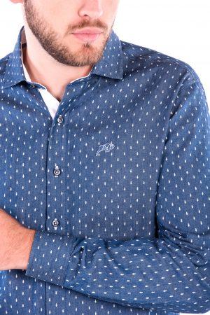Camisa Slim Fit Falklands ML - Efeito Jeans Gravata