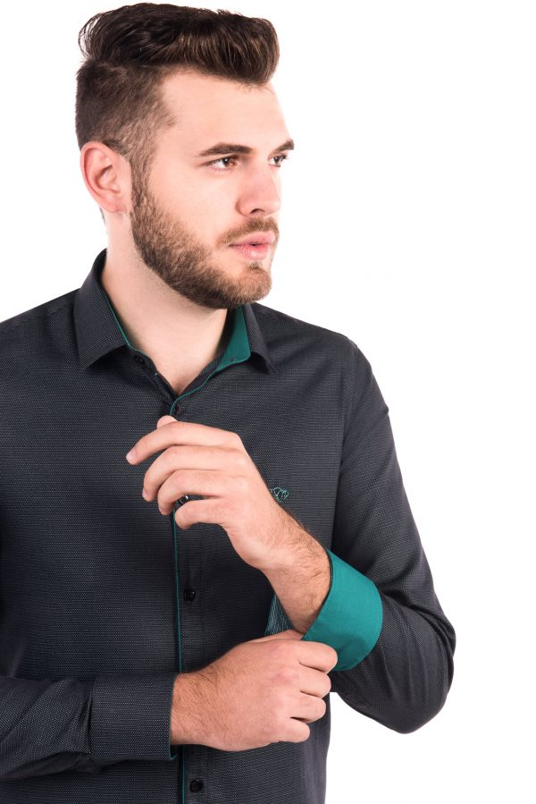 Camisa Slim Fit Argali Kauai ML - Cinza Elegance