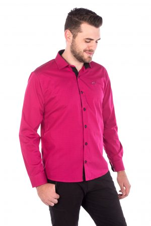 Camisa Slim Fit Argali Falklands ML - Rosa Intenso