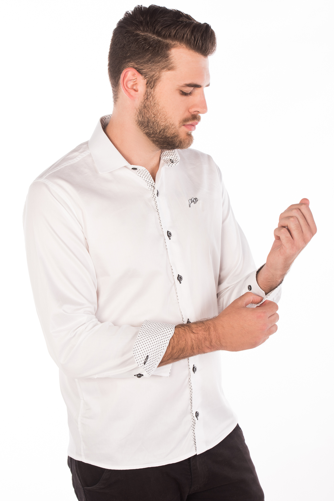 Camisa Slim Fit Argali Falklands ML - Branco Liso bf927e4555e