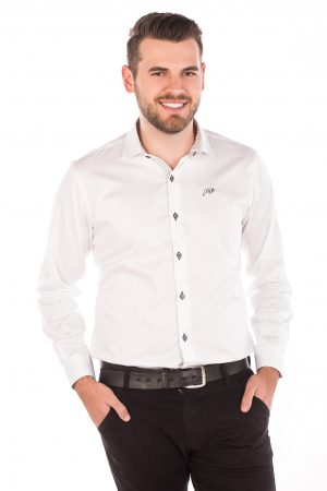 Camisa Slim Fit Argali Falklands ML - Branco Liso