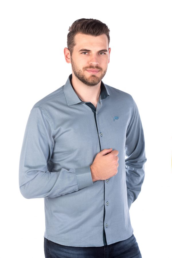 Camisa Slim Fit Argali Falklands ML - Azul Teal (frente)