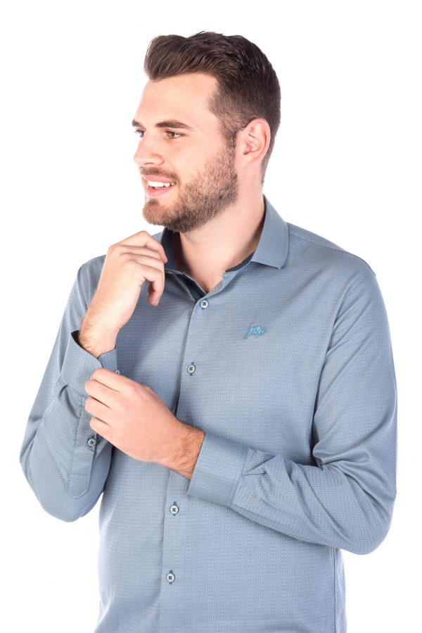 Camisa Slim Fit Argali Falklands ML - Azul Teal (lado)