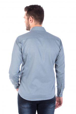 Camisa Slim Fit Argali Falklands ML - Azul Teal (costas)