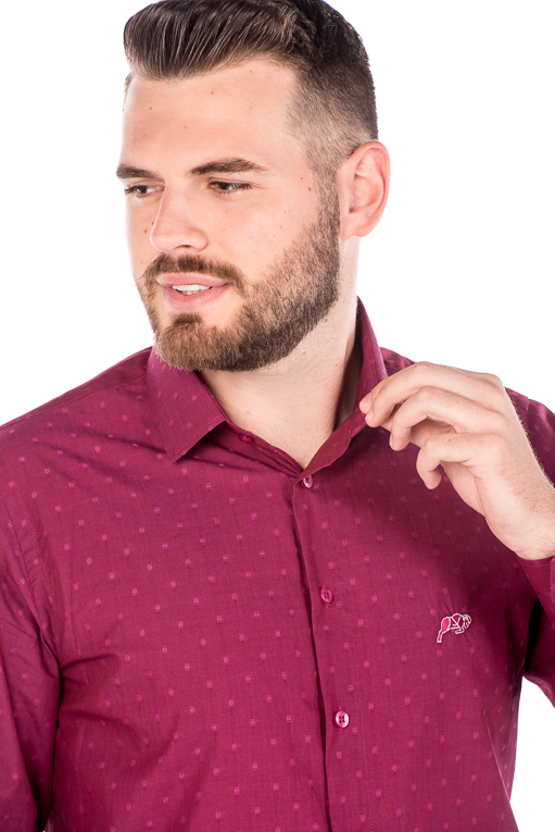 Camisa Slim Argali Kauai Rosa Estilo (detalhe)