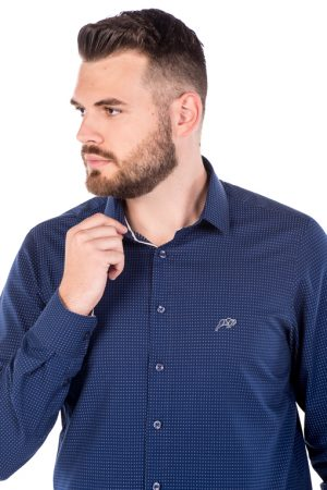 Camisa Slim Argali Kauai Azul One (detalhe)