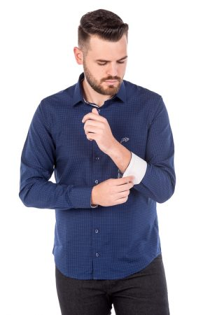 Camisa Slim Argali Kauai Azul One (frente)