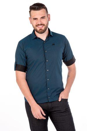 Camisa Slim 3/4 Manga Curta Argali Falklands Azul Quad (frente)