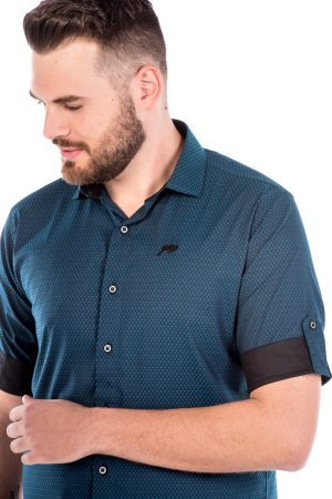 Camisa Slim 3/4 Manga Curta Argali Falklands Azul Quad (detalhe)