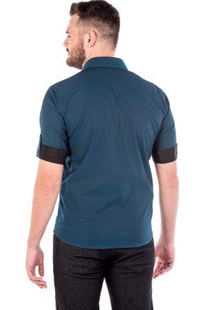 Camisa Slim 3/4 Manga Curta Argali Falklands Azul Quad (costas)