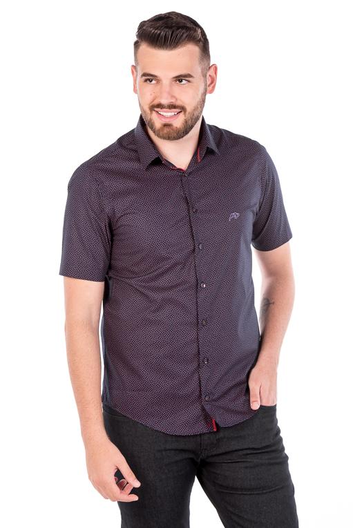 Camisa Argali Kauai Manga Curta Poá Rosa (frente)