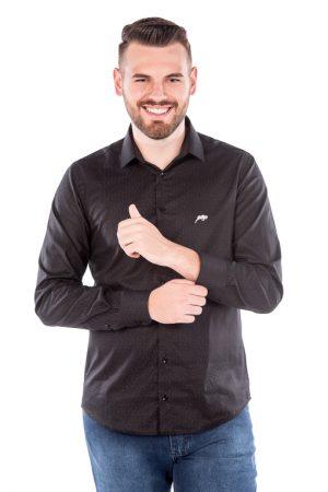 Camisa Slim Argali Kauai Preto Intense (frente)