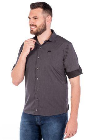 Camisa Slim 3/4 Manga Curta Argali Falklands Giz Cinza (frente)