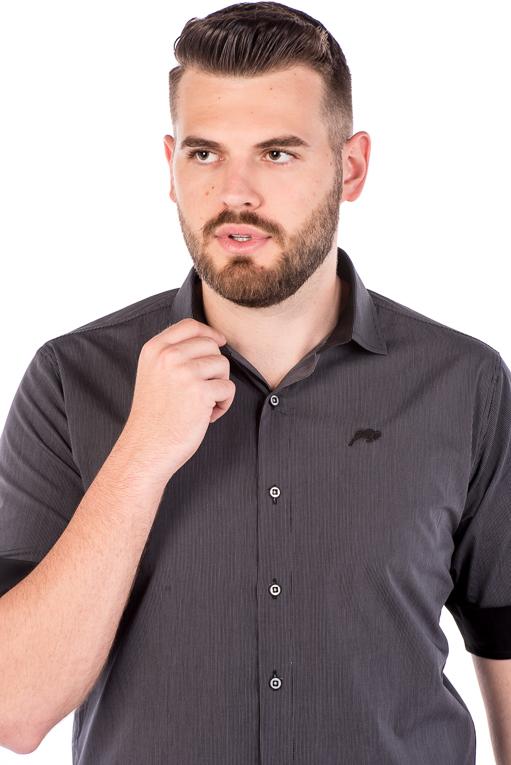 Camisa Slim 3/4 Manga Curta Argali Falklands Giz Cinza (detalhe)