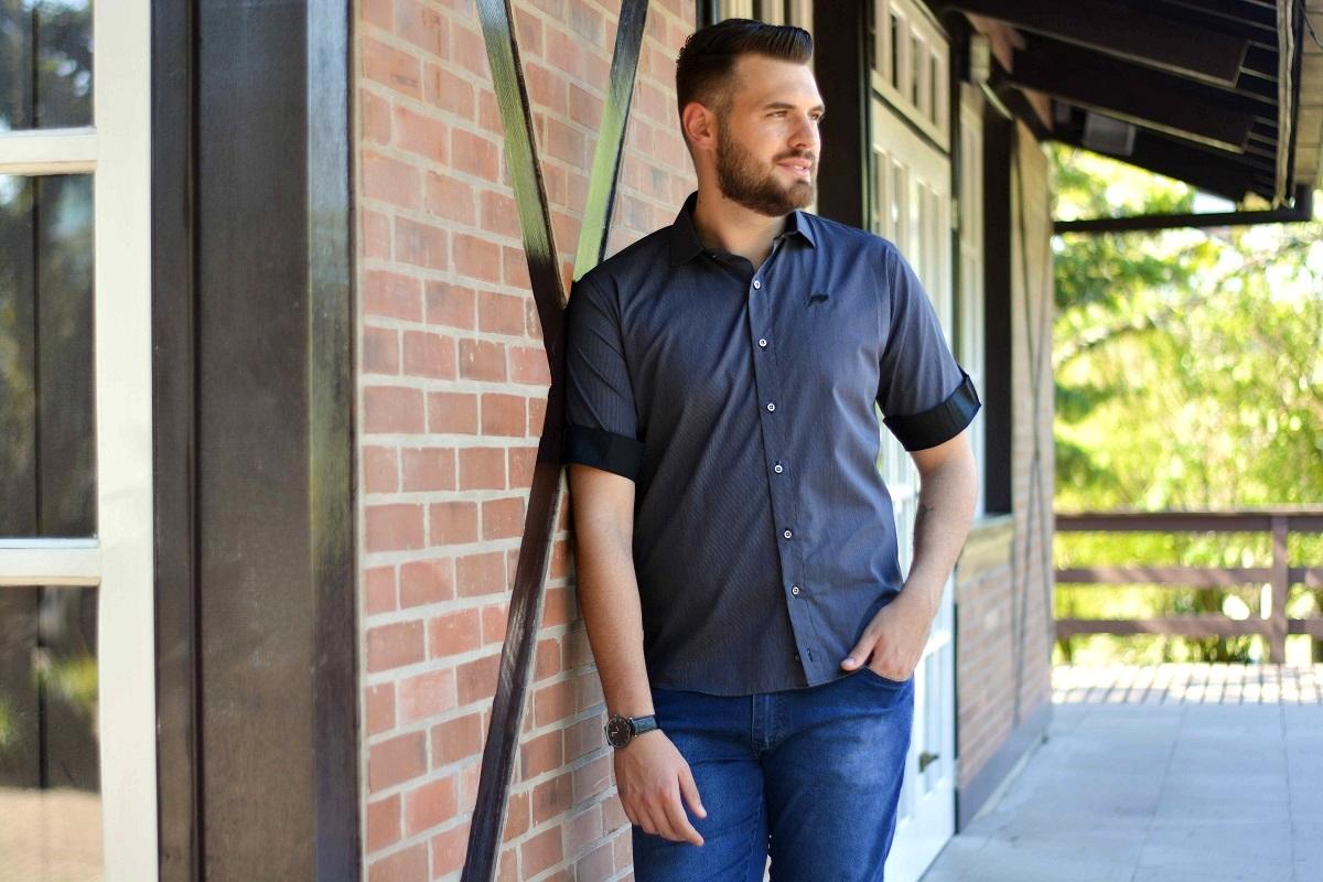 Camisa Argali Listrado Vertical Giz Cinza Manga Curta