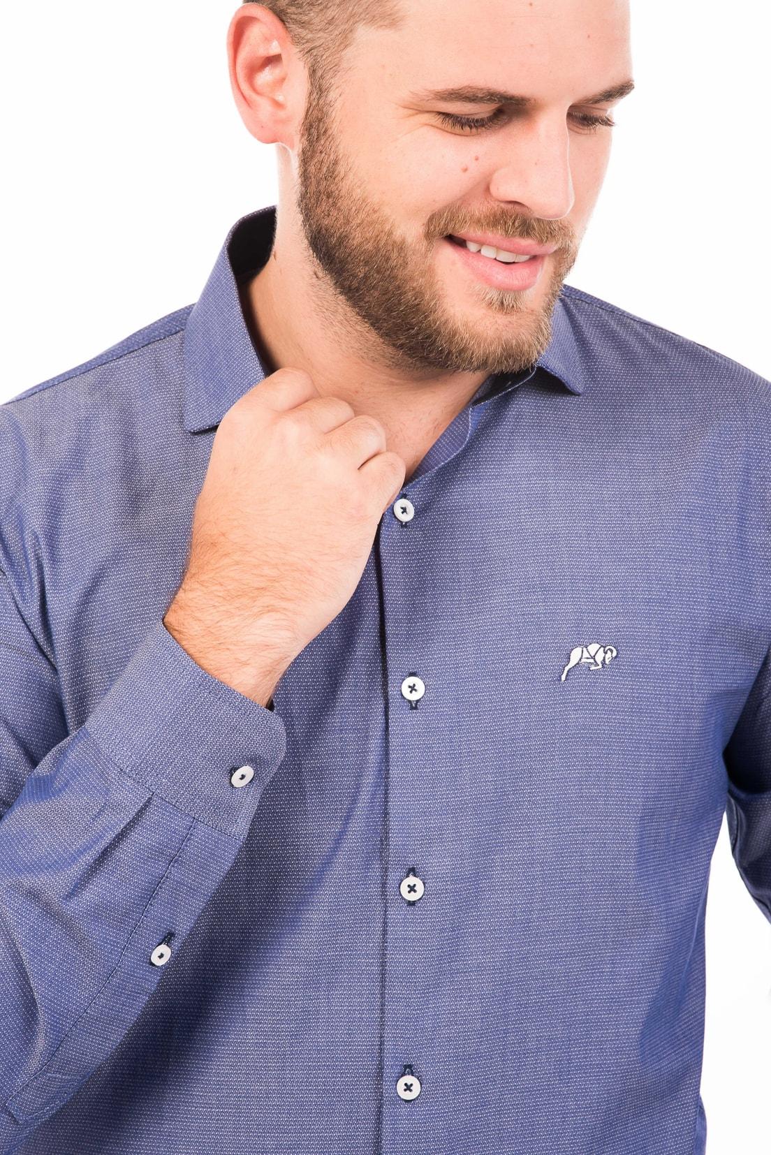 Camisa Slim Fit Argali Falklands ML - Azul Life (detalhe)