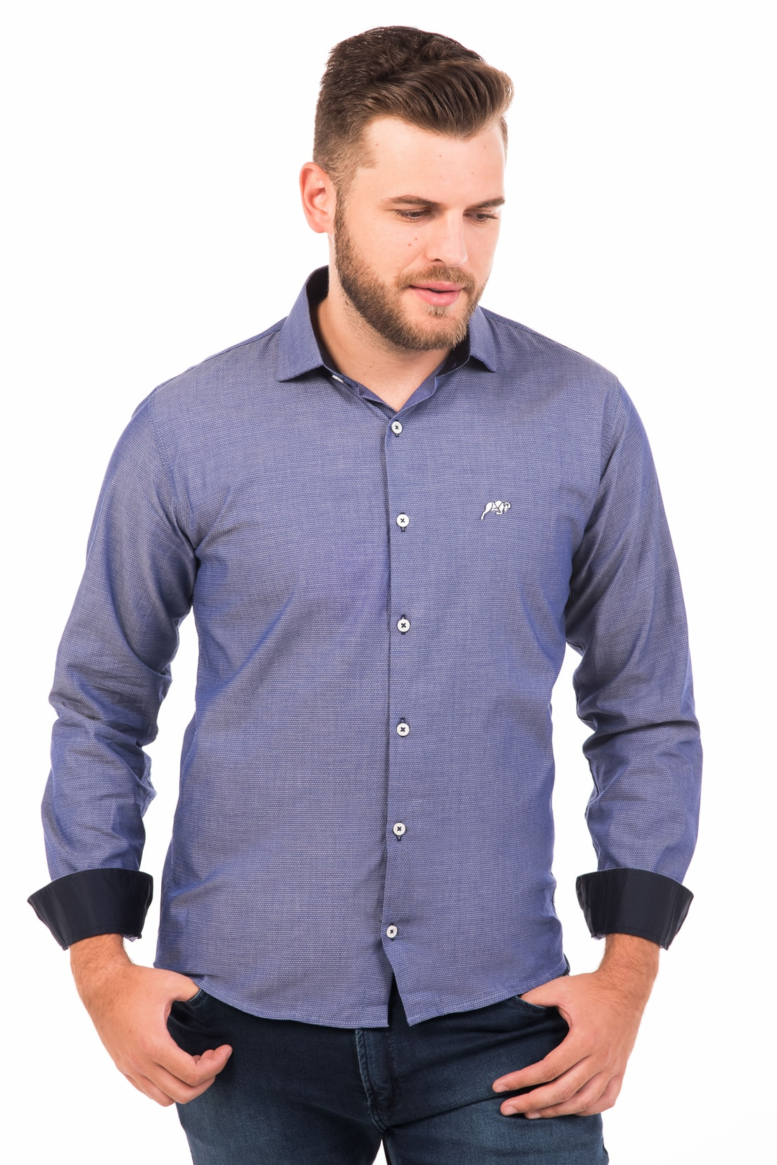 Camisa Slim Fit Argali Falklands ML - Azul Life (frente 2)