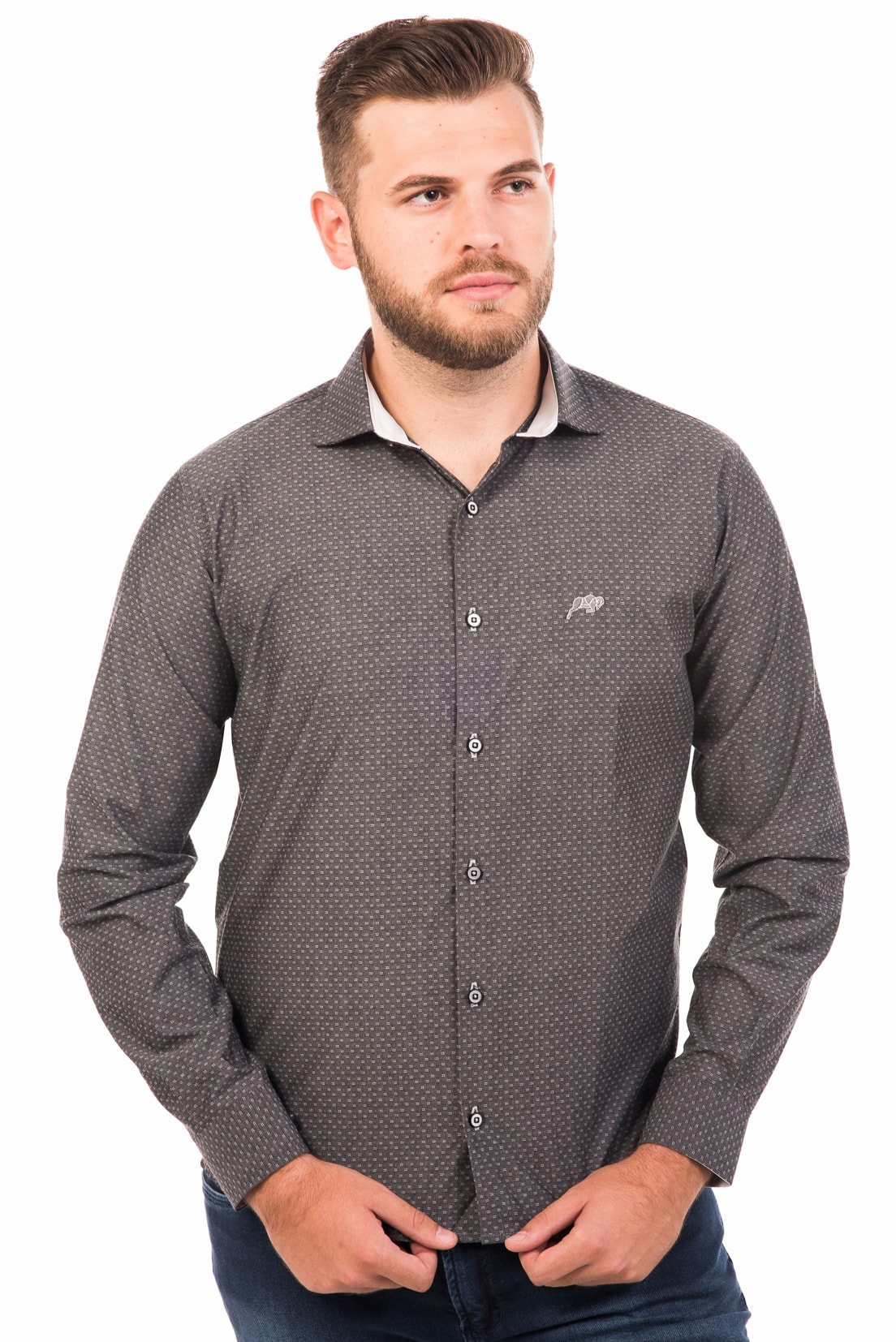 Camisa Slim Fit Argali Falklands ML - Cinza Authority (frente)