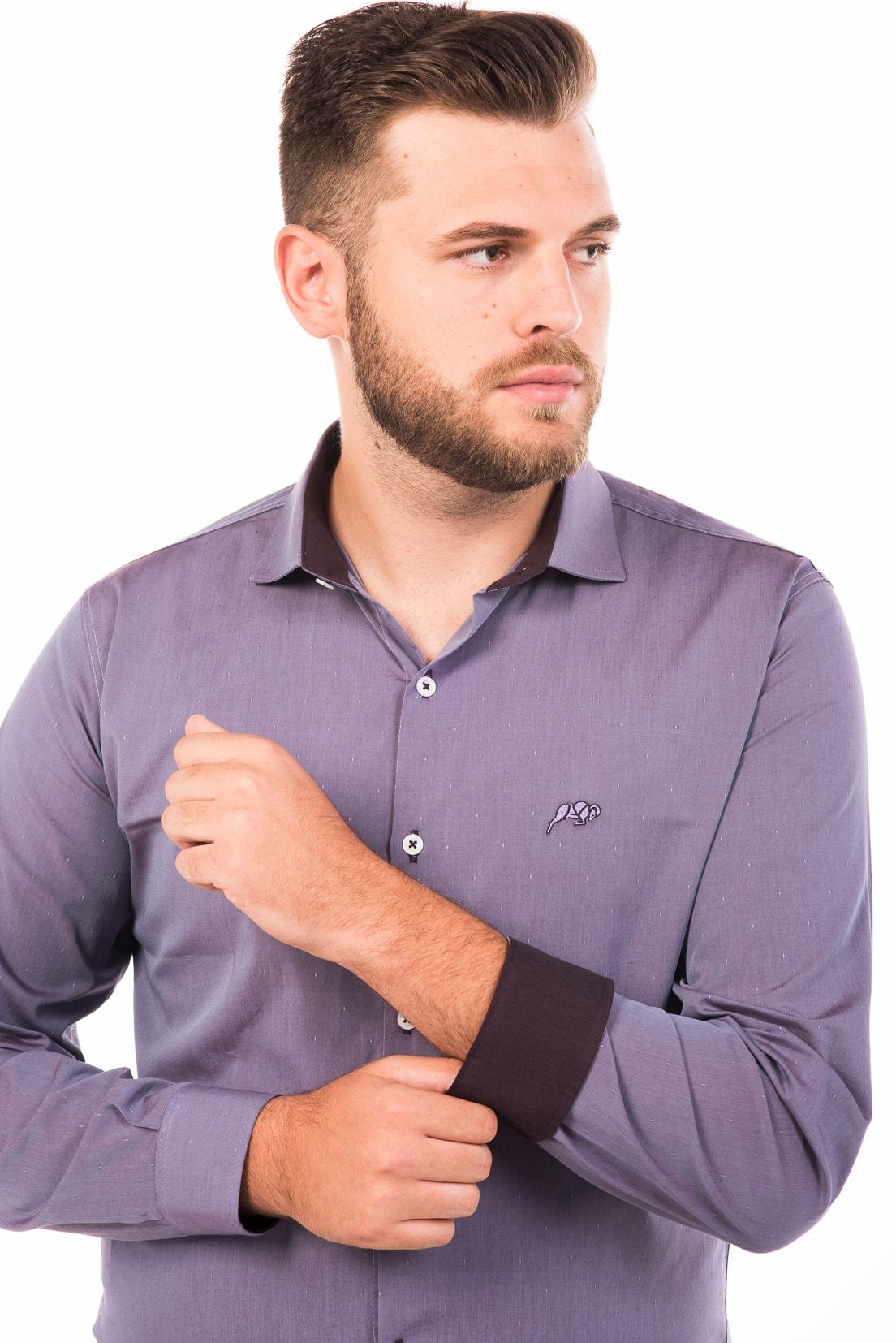 Camisa Slim Fit Argali Falklands ML - Lilás Destonado (detalhe)