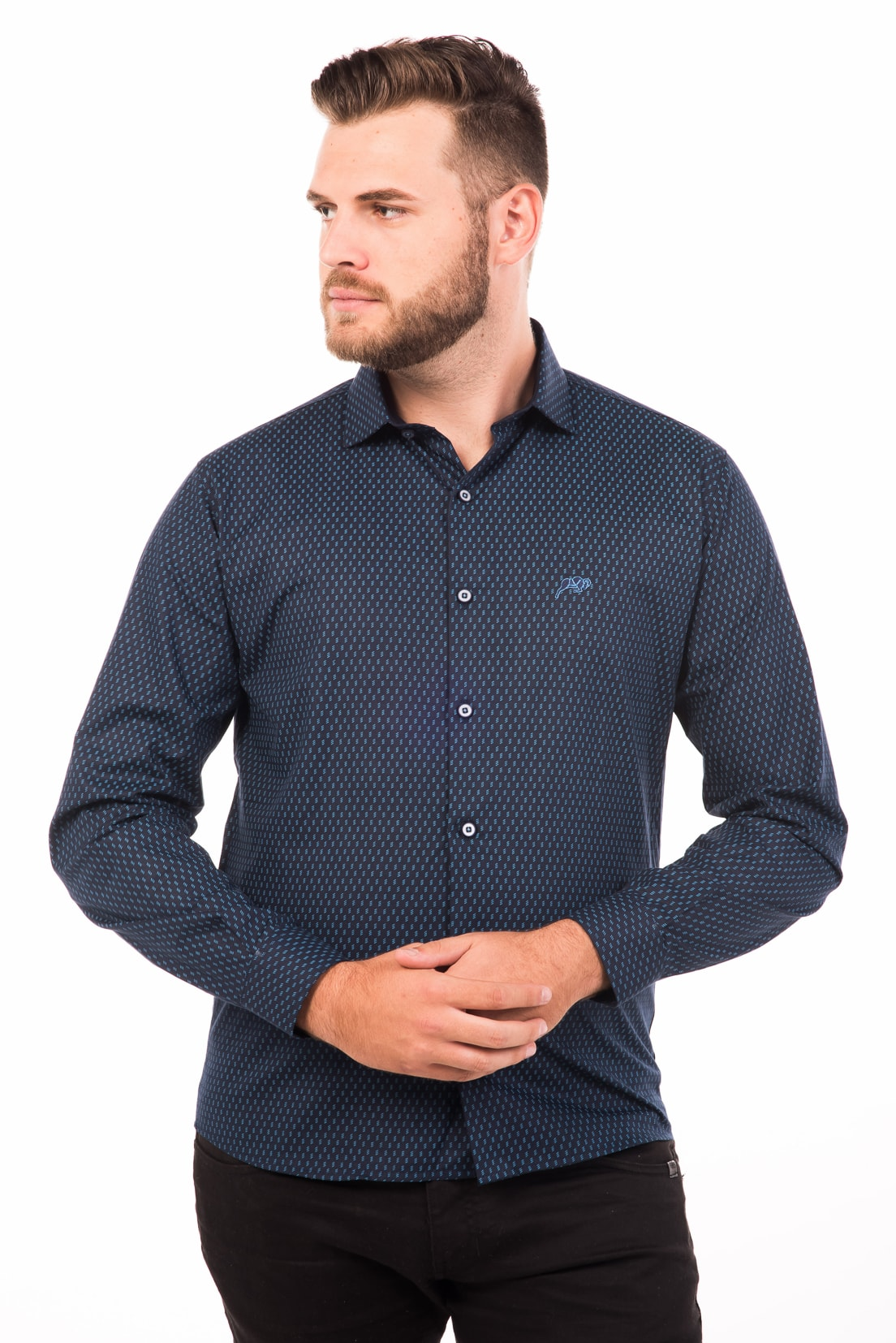Camisa Slim Fit Argali Falklands ML - Azul Party (frente)