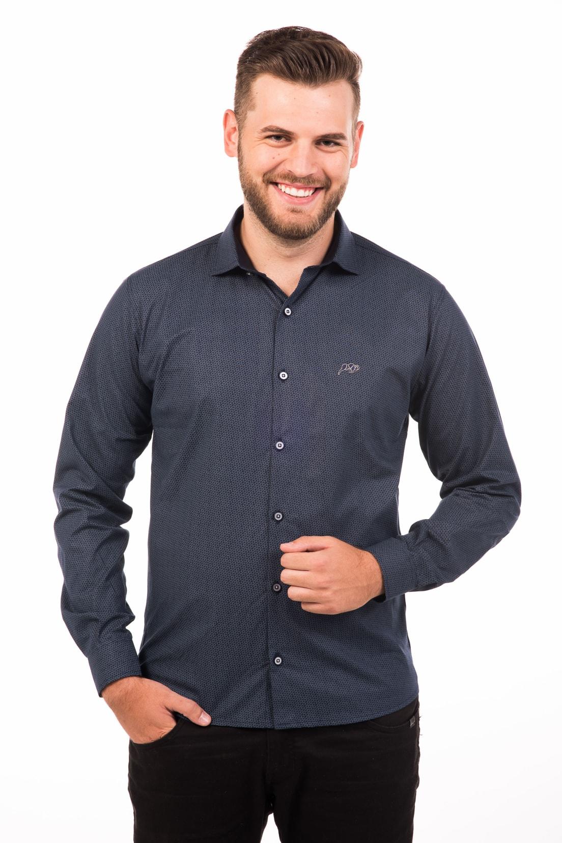 Camisa Slim Fit Argali Falklands ML - Marinho Floral (frente)