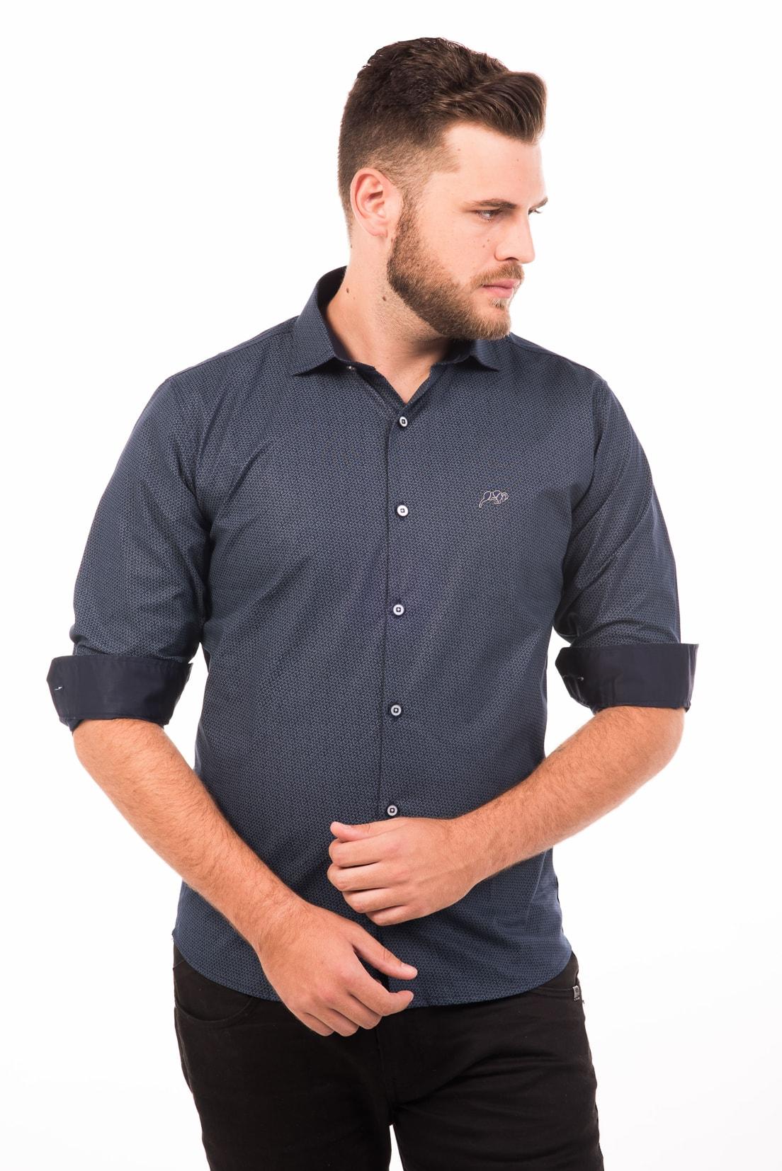 Camisa Slim Fit Argali Falklands ML - Marinho Floral (punho)