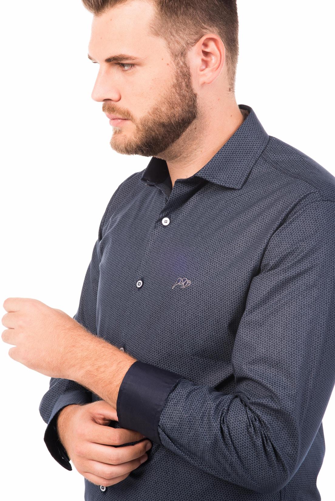 Camisa Slim Fit Argali Falklands ML - Marinho Floral (detalhe)