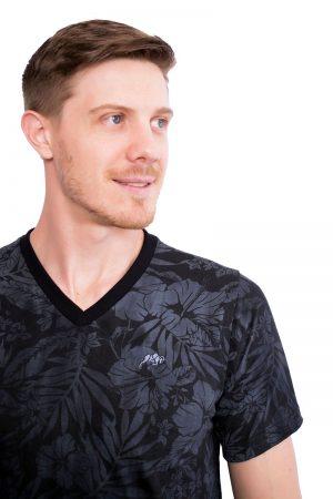 Camiseta Argali Altai Floral Preto Sober (detalhe)