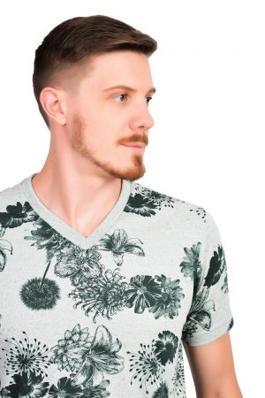 Camiseta Argali Altai Floral Verde (detalhe)